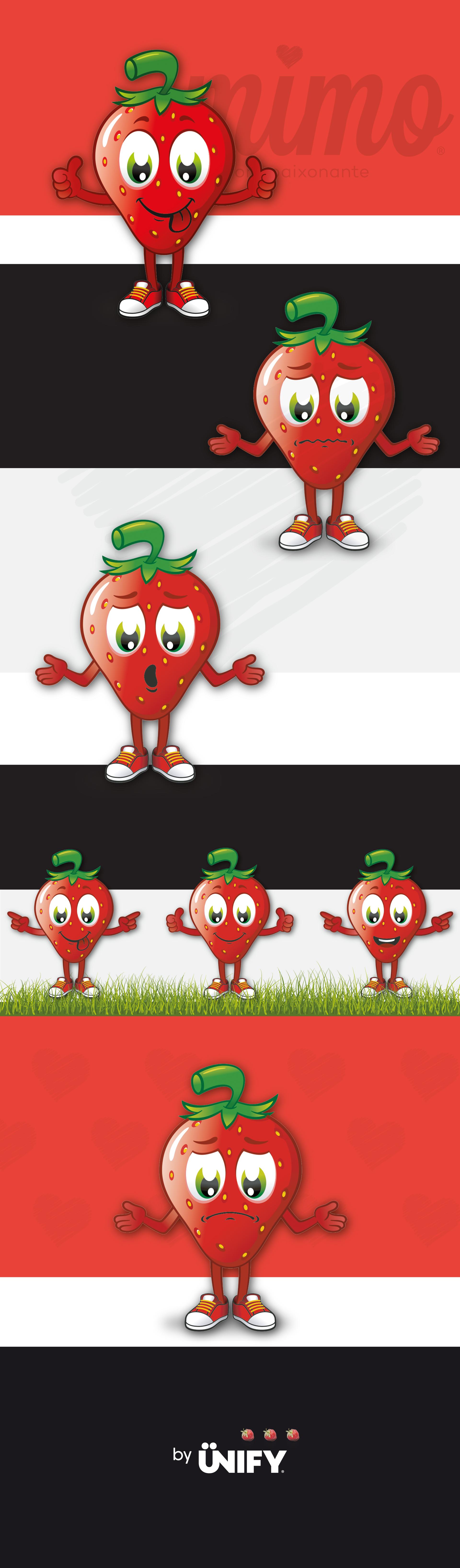 Resultados do trabalho de Ilustração feito pela UNIFY para a empresa Frutas Classe e que resultou na mascote Mimo