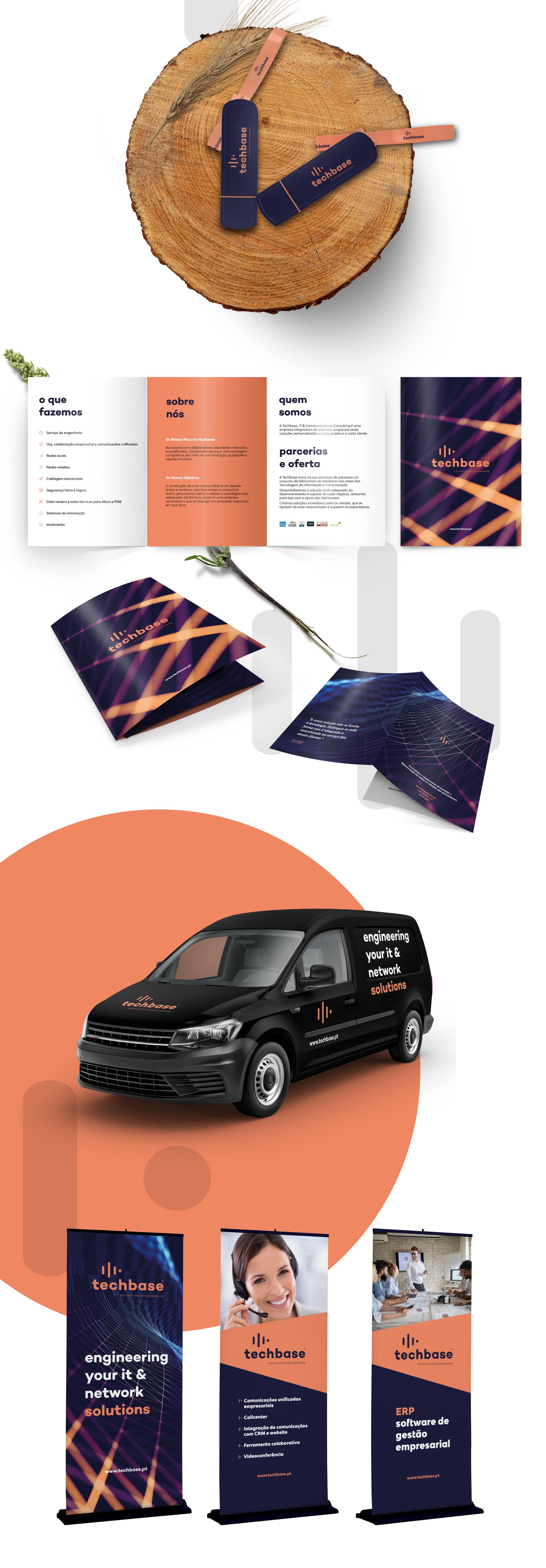 Exemplos do trabalho de branding desenvolvido pela UNIFY para a empresa Techbase - logo, viaturas, roll up